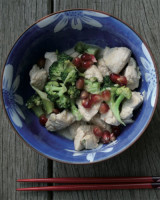 Turkey in red and green with broccoli and pomegranate